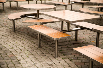 Tables in a cafe in the park