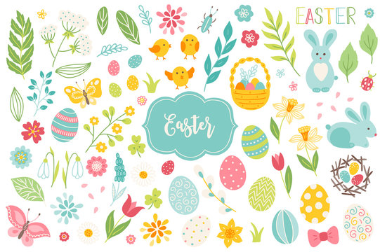 Set of Easter design elements. Eggs, chicken, butterfly, rabbit, tulips