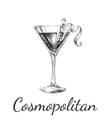 Hand Drawn Sketch Cosmopolitan Cocktail Drinks