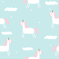 Seamless pattern with magical unicorn in the sky. Vector hand drawn illustration.