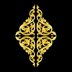 Pattern of wood carve gold paint for decoration on black  background