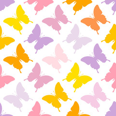 Seamless Pattern Butterflies Pastel Color Mix