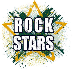 Rock stars very bright grunge design for emblem, logo or poster