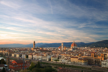 A view across Florence in Italy at sunset