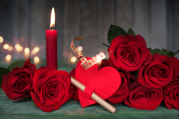 Beautiful romantic still life for valentines day