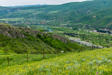 View south from Jvari Monastery, Mtskheta, Georgia, Eastern Europe overlooking Mtkvari River and Mukhatgverdi.