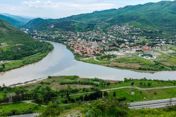 View from Jvari Monastery, Mtskheta, Georgia, Eastern Europe overlooking estuaries of Mtkvari and Aragvi Rivers.