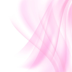 Vector pink and white background. Soft transparent pink waves.