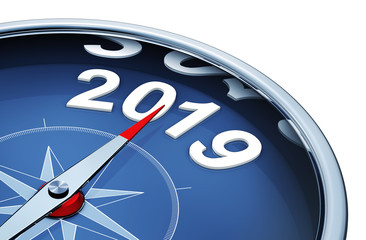 3D rendering of a compass with the year 2019
