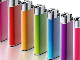 Generic multi colored lighters isolated on white background. 3D illustration