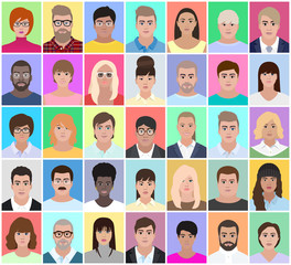 Portraits of adults people, vector illustration