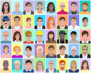 Different people, portrait, vector