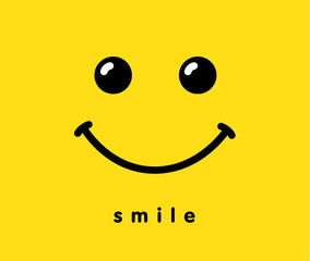 Smile icon logo template design. Smiling vector on yellow background. Face doodle line art style