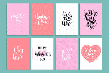 Vector handwritten phrases Love Is In The Year etc.on labels,tags.February 14 calligraphy set. Valentines day typography