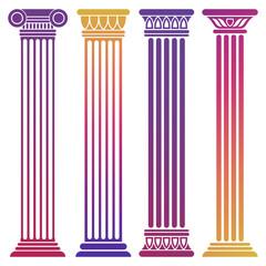 Bright ancient columns set on white background