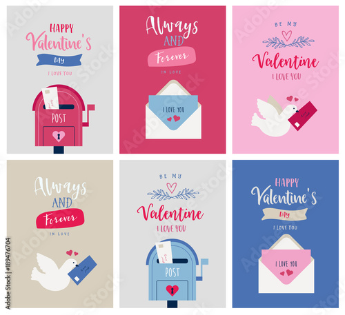 Valentine's day card set, poster with graphic and typographic