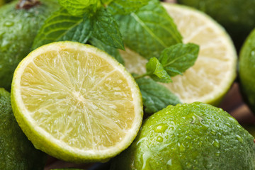 Wet limes and mint.
