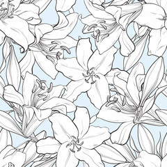 Vector hand drawn sketch illustration of monochrome white tulips flower with closed opened blossom leaves seamless pattern. Floral natural decoration background, backdrop element fabric textile design