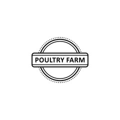 Vector flat poutry farm logo in circle icon monochrome. Chicken meat manufacturing, natural organic food products company identity, logo, brand design template. Isolated illustration, white background
