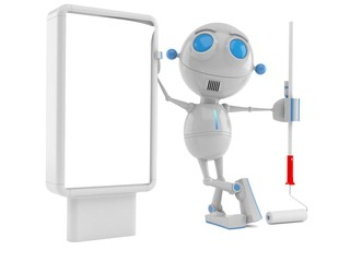Robot with blank billboard