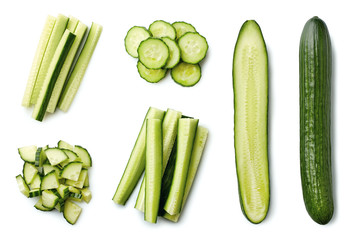 Fresh whole and sliced cucumber