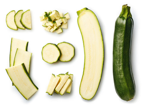 Fresh whole and sliced zucchini