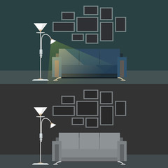 Set with two Dark Interiors Living Room , Sofa with Floor Lamp, Photo Frames on the Wall, Vector Illustration