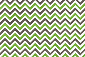 Watercolor green and grey stripes background, chevron.