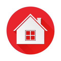 Home red icon. Symbol of residential house
