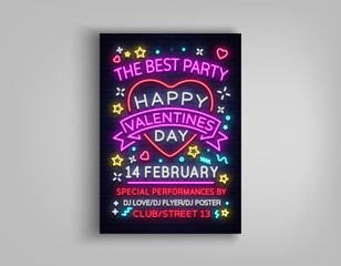 Happy Valentine's Day poster party. Neon design template typography, neon sign, bright banner invitation to the party, nightlife nightclub advertising, card, flyer. Vector illustration