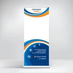 Banner roll-up design, business concept. Graphic template roll-up for 