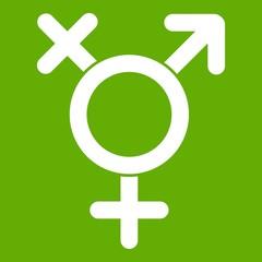 Transgender sign icon green