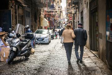 Fotobehang Napels Naples / Italy - November 30 2017: City streets full of people in Naples, Italy