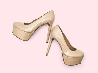 Beige High Heel Platform Shoes