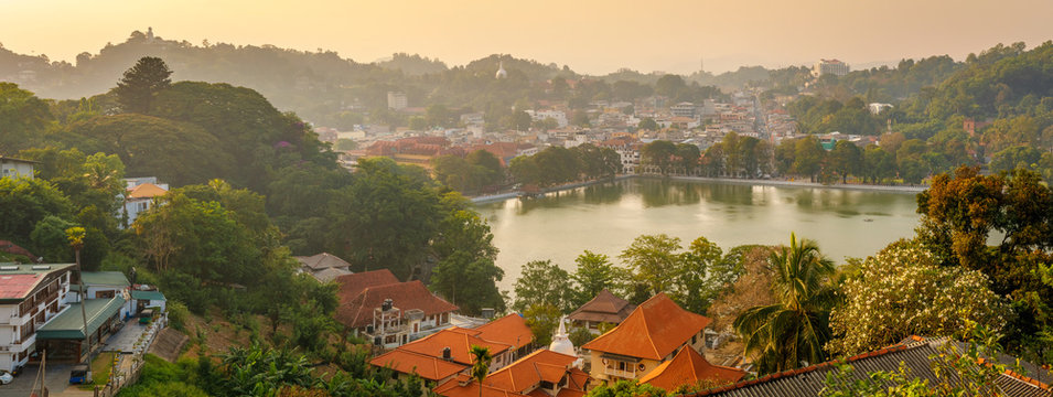 Beautiful sunset view in Kandy - second largest city located in the Central Province, Sri Lanka, Asia