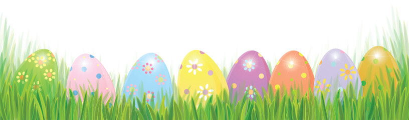 Vector Easter Eggs In Green Grass Solated Border Background