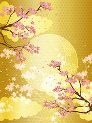 桜と金の和柄の背景素材