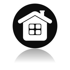 Home icon. Round black icon of a resedential house