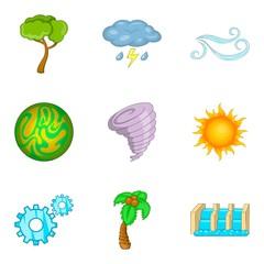Green energy icons set, cartoon style