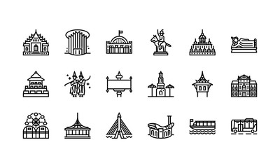 Bangkok symbols and landmarks icon set 2