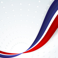 Patriotic background of colors of the national flag of USA smooth abstract wavy lines on the background of the pattern of stars Template banner poster card on Independence Day Element of design Vector