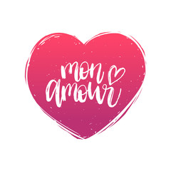 Vector hand lettering phrase Mon Amour. February 14 calligraphy in heart shape. Valentines day typography