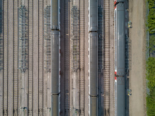 Graphic aerial view of train on rails