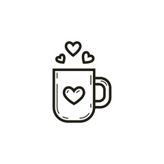 black and white linear cup icon with hearts