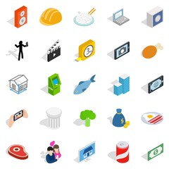 Feature icons set, isometric style