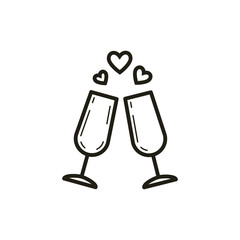 black and white linear icon of two wine glasses with hearts