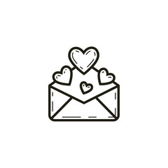 black and white linear letter icon with hearts