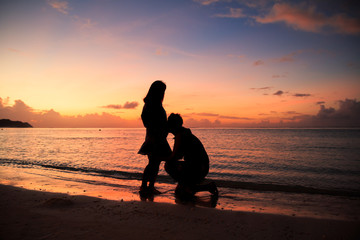 silhouette of couplewith a beautiful sunset