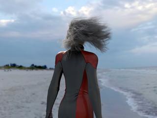 long hair woman on a sea beach