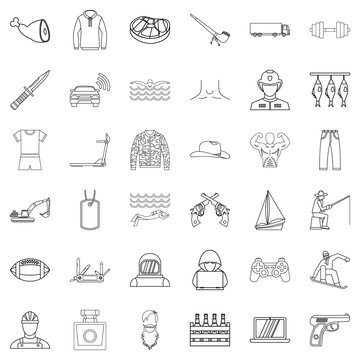 Human nature icons set, outline style